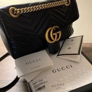 Gucci Marmont Metalasse Shoulder Bag (Small/Black)